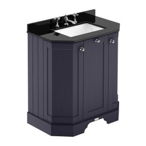 Hudson Reed Old London Twilight Blue Angled Vanity Unit with 3 Hole Black Marble Top 750mm