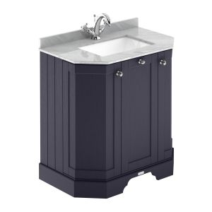 Hudson Reed Old London Twilight Blue Angled Vanity Unit with 1 Hole Grey Marble Top 750mm