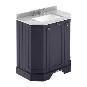 Hudson Reed Old London Twilight Blue Angled Vanity Unit with 3 Hole Grey Marble Top 750mm