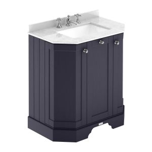 Hudson Reed Old London Twilight Blue Angled Vanity Unit with 3 Hole White Marble Top 750mm