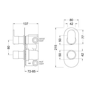 Hudson Reed Reign Rounded Twin Concealed Thermostatic Shower Valve Line Drawing