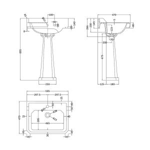 Hudson Reed Richmond 1 Tap Hole Basin with Full Pedestal 600mm Line Drawing