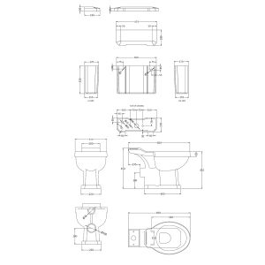 Hudson Reed Richmond Close Coupled Toilet Drawing