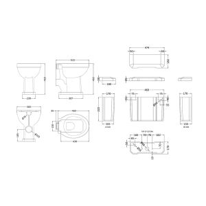 Hudson Reed Richmond Comfort Height Low Level Toilet Line Drawing