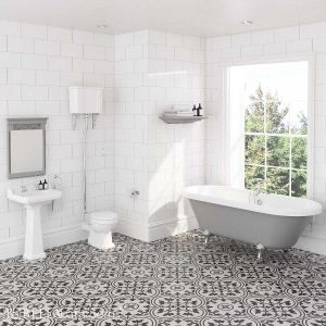 Hudson Reed Richmond High Level Traditional Bathroom Suite with Skipton Dove Grey Freestanding Bath