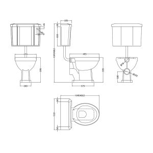 Hudson Reed Richmond Low Level Toilet Line Drawing