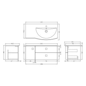 Hudson Reed Sarenna Dove Grey Vanity Unit 1000mm Right Handed Dimensions