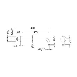 Hudson Reed Wall Mounted Shower Arm 345mm Line Drawing