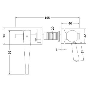 Hudson Reed Ceramic Handle Toilet Lever Line Drawing
