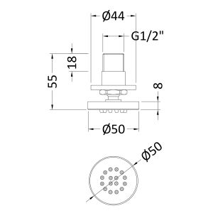 Hudson Reed Round Shower Body Jet Line Drawing
