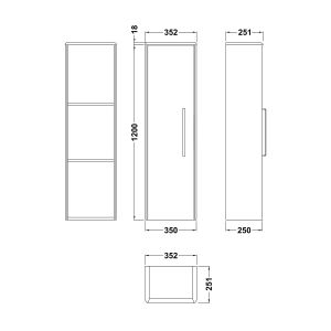 Hudson Reed Solar Pure White Tall Unit Line Drawing