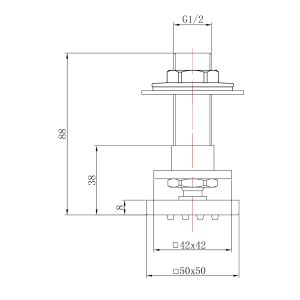 Hudson Reed Square Shower Body Jet Line Drawing