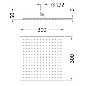 Hudson Reed Square Thin Fixed Shower Head 300 x 300mm Line Drawing
