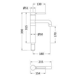Hudson Reed Tec Single Lever High Rise Mono Basin Mixer Tap Line Drawing