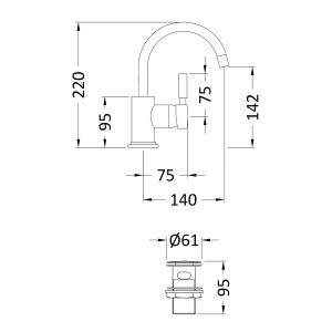 Hudson Reed Tec Single Lever Side Action Mini Mono Basin Mixer Tap Line Drawing