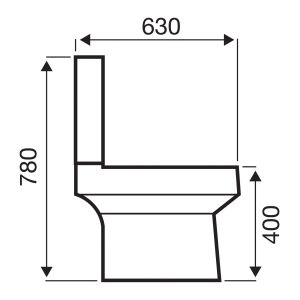 Kartell K-VIT Embrace Close Coupled Toilet with Soft Close Seat Line Drawing
