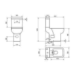 Kartell K-VIT Options 600 Comfort Height Toilet with Soft Close Seat  Line Drawing