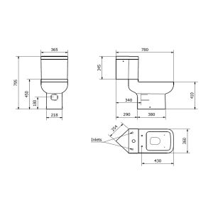Kartell K-VIT Options 600 Corner Toilet with Soft Close Seat Line Drawing