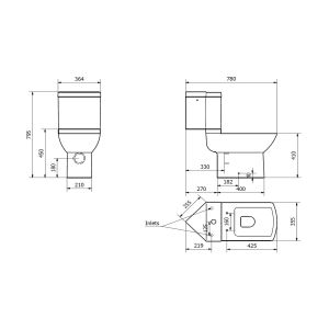 Kartell K-VIT Pure Corner Toilet with Soft Close Seat Line Drawing