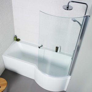 Kartell K-vit White Adapt P Shaped Right Hand Bath with Leg Sets 1700mm