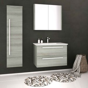 Kartell Purity Grey Ash Double Mirrored Bathroom Cabinet 600mm Lifestyle