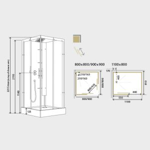 Kinedo Horizon Thermostatic Corner Slider Self-Contained Shower Cubicle Dimensions
