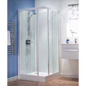 Kinedo Kineprime Glass Thermostatic Corner Slider Self-Contained Shower Cubicle