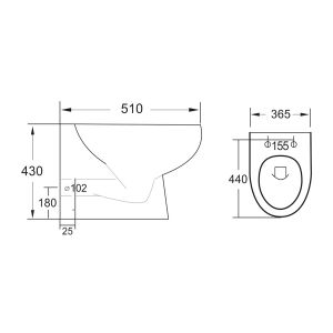 Manhattan Belini Gloss White Rimless Comfort Height Back to Wall Pan with Soft Close Seat Line Drawing