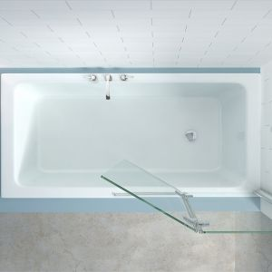 Merlyn Two Panel Hinged Bath Screen Left Hand Overhead