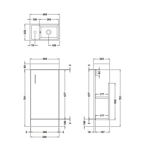 Nuie Vault Stone Grey Compact Vanity Unit 400mm Drawing