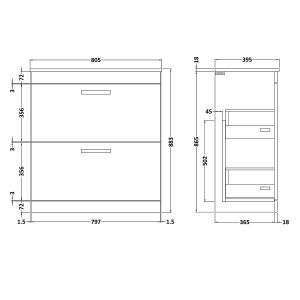 Nuie Athena Gloss Grey 2 Drawer Floor Standing Vanity Unit 800mm with Minimalist Basin Dimension