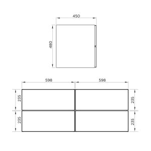 Mito Wall Hung Double Vanity Unit 1200mm Line Drawing 1