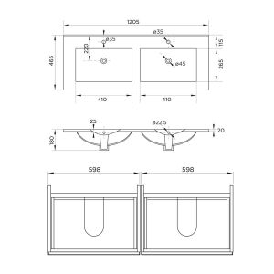 Mito Wall Hung Double Vanity Unit 1200mm Line Drawing 2