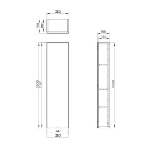 Mito Anthracite Wall Hung Tall Unit 350mm Line Drawing