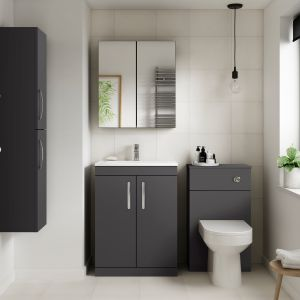 Nuie Athena Gloss Grey Double Mirrored Bathroom Cabinet Lifestyle