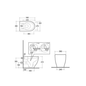 RAK Moon Rimless Back To Wall WC with Soft Close Seat Measurements