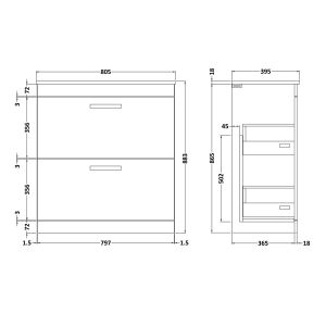 Nuie Athena Gloss Grey 2 Drawer Floor Standing Vanity Unit 800mm with Slimline Basin Dimensions