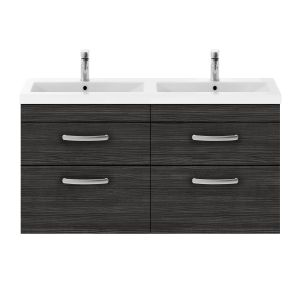 Nuie Athena Hacienda Black 4 Drawer Wall Hung Vanity Unit with Ceramic Double Basin 1200mm