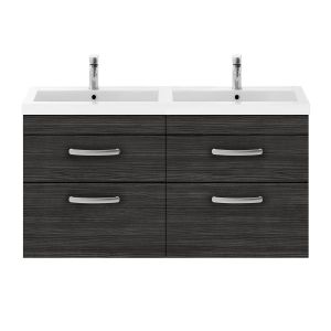 Nuie Athena Hacienda Black 4 Drawer Wall Hung Vanity Unit with Polymarble Double Basin 1200mm