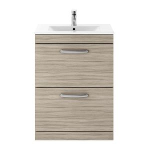 Nuie Athena Driftwood 2 Drawer Floor Standing Vanity Unit with 18mm Profile Basin 600mm