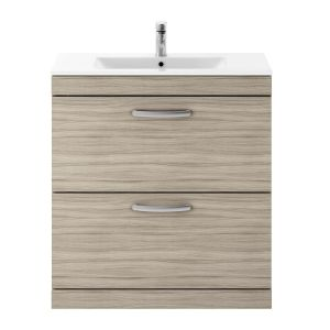 Nuie Athena Driftwood 2 Drawer Floor Standing Vanity Unit with 18mm Profile Basin 800mm