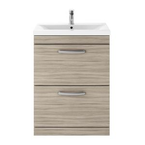 Nuie Athena Driftwood 2 Drawer Floor Standing Vanity Unit with 40mm Profile Basin 600mm