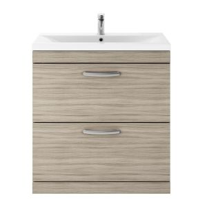 Nuie Athena Driftwood 2 Drawer Floor Standing Vanity Unit with 40mm Profile Basin 800mm