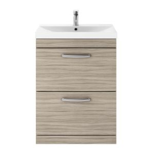 Nuie Athena Driftwood 2 Drawer Floor Standing Vanity Unit with 50mm Profile Basin 600mm