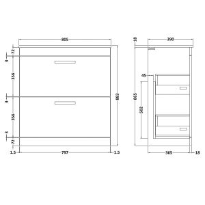 Nuie Athena Driftwood 2 Drawer Floor Standing Vanity Unit with 18mm Worktop 800mm Line Drawing