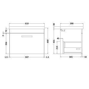 Nuie Athena Driftwood 1 Drawer Wall Hung Vanity Unit with 40mm Profile Basin 600mm Line Drawing