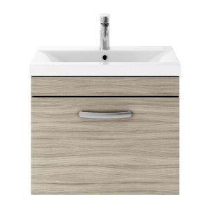 Nuie Athena Driftwood 1 Drawer Wall Hung Vanity Unit with 40mm Profile Basin 600mm