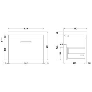 Nuie Athena Driftwood 1 Drawer Wall Hung Vanity Unit with 50mm Profile Basin 600mm Line Drawing