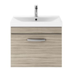 Nuie Athena Driftwood 1 Drawer Wall Hung Vanity Unit with 50mm Profile Basin 600mm