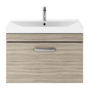 Nuie Athena Driftwood 1 Drawer Wall Hung Vanity Unit with 50mm Profile Basin 800mm